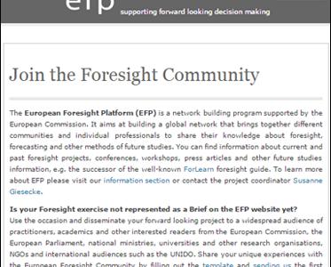 European Foresight Platform (EFP)